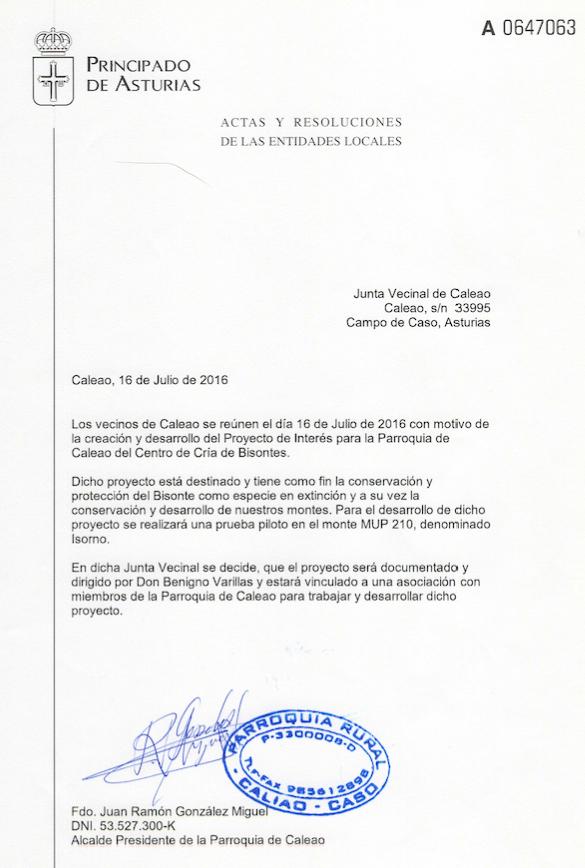 """Acta de aprobación del proyecto """"Área de Cría de Bisontes europeos"""" en Caleao, Asturias."""
